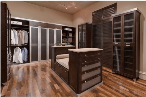Custom Closets :: Large Walk-in Closet Brown Theme with Seat Area