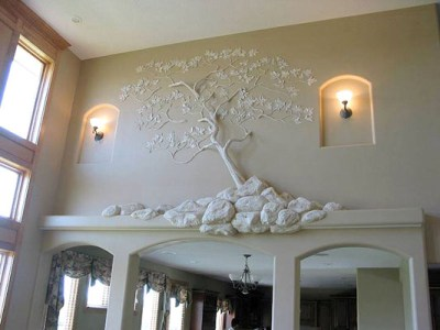 Stone and Tree Drywall art above Arched Opening