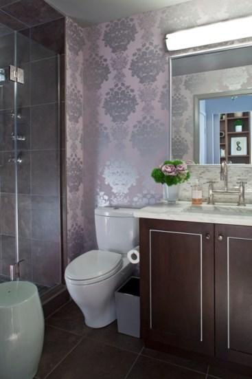 Transitional Bathroom with Metallic Wallpaper Pattern Client Kafka Curtis Martin.jpg