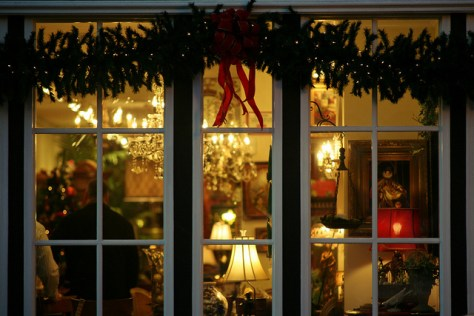 holiday decorations outside window looking in