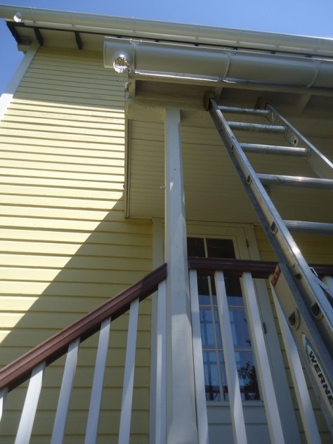 half round gutters set no downspout