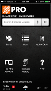 Home Depot Pro App Home Page