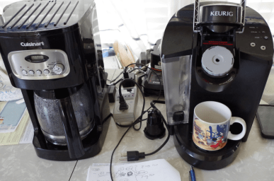 Image of coffee makers and power meter.