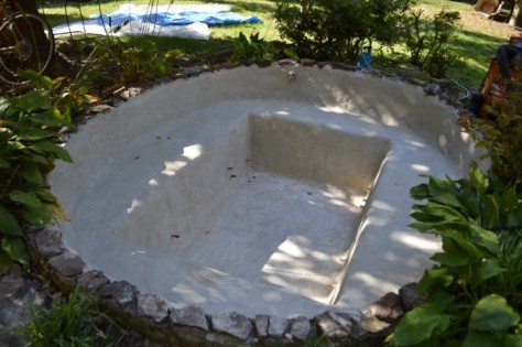 Concrete Pond Repaired and Parged