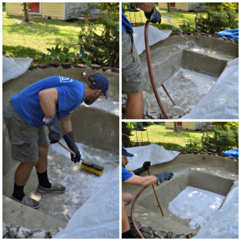 Scrubbing Rinsing Etching a Parge Coat Concrete Pond
