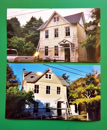 Victorian Farmhouse Wood Shutter Removed Painting Wood Siding