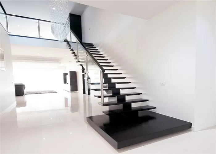 Solid Wood Steps Straight Flight Staircase Humanized Design Free   Solid Wood Steps For Stairs   Staircase   Iron Rod   Oak Veneer   Rounded   Stained