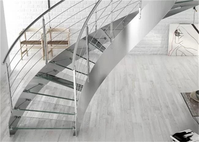 Prima Construction Modern Curved Staircase Curved Glass Stairs | Curved Glass Staircase Railing | Half Circle | Aluminium | Tuffen | Interior Modern Glass | Stone Glass