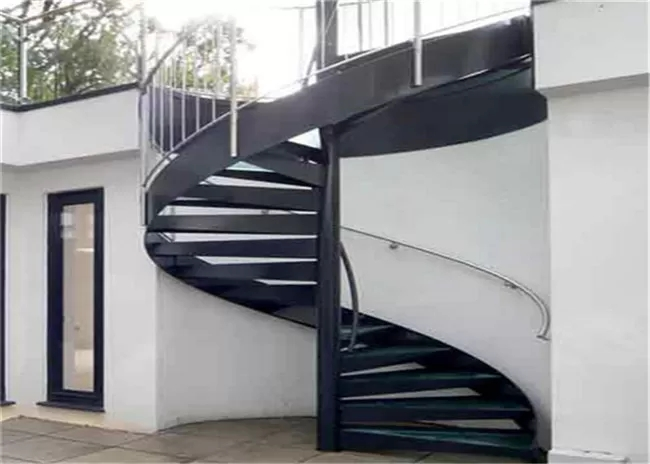 Strong Residential Spiral Staircase Wood Treads Compact Spiral | Spiral Staircase For Outside Deck | Iron | Custom | Double Spiral | Railing | Portable Rectangular Concrete