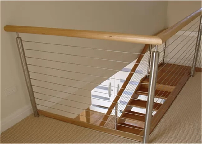 Metal Craft 304 Stainless Steel Cable Stair Railing With Top Wood   Wood And Steel Handrail   Wood Framed   Interior   Round   Rustic   Glass