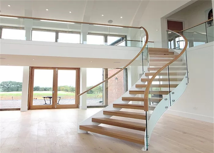 Steady Structure Building Curved Stairs Contemporary Wooden   Wooden Spiral Stairs Design   Interior   Curved   Space Saving   Rustic   Contemporary