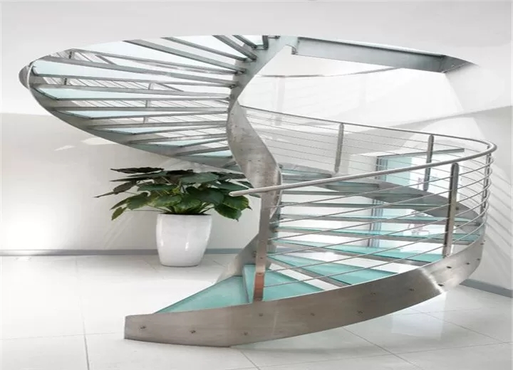 Residential Metal Spiral Staircase Stainless Steel Railing | Spiral Staircase With Glass Railing | Exterior | In India Staircase | Stair Wood Bracket | Glass Insert | Inside Glass