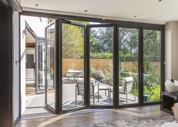 lowes commercial aluminium doors exterior sliding folding french doors brown white color
