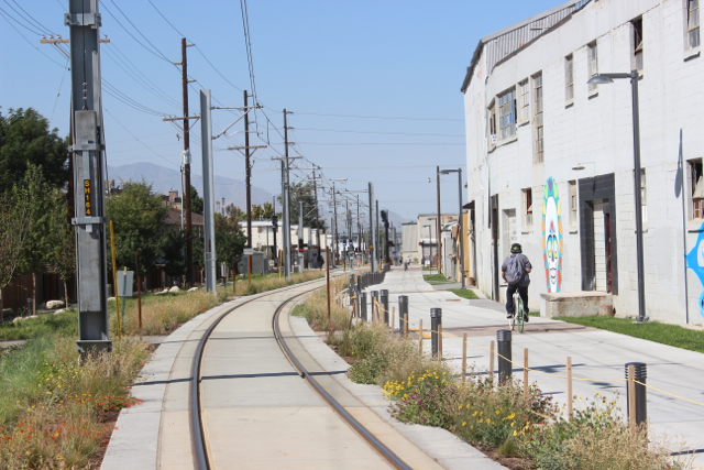 The S-line Greenway between 500 and 600 East. Photo by Isaac Riddle.