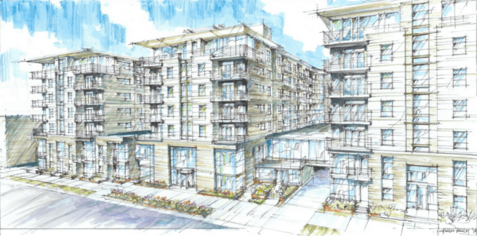 Current rendering of the Liberty Crest Apartments.