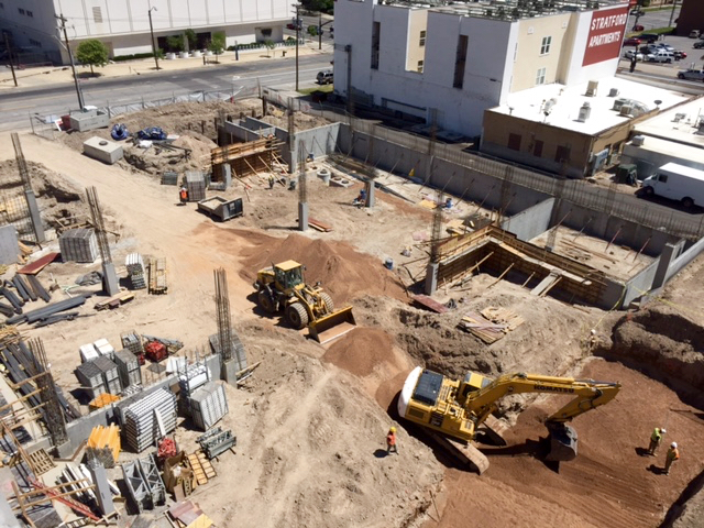 Construction of the Liberty Crest Apartments as seen from an adjacent parking structure. Photo by Isaac Riddle.
