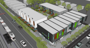 Aerial rendering of the Central Ninth Lofts. Image courtesy LandForge Inc.