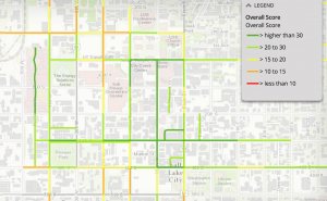 The overall walkability scores of downtown Salt Lake as determined by the WFRC. Image courtesy the WFRC.