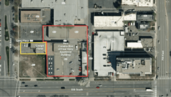 An aerial map view of the site area for the Liberty Square Apartments. The area that will include new construction is outlined in red. Image courtesy Salt Lake Planning Division.