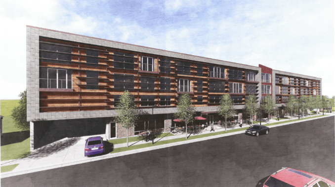 Concept rendering of the Sugar House Mixed Used Development. Rendering by Think Architecture.