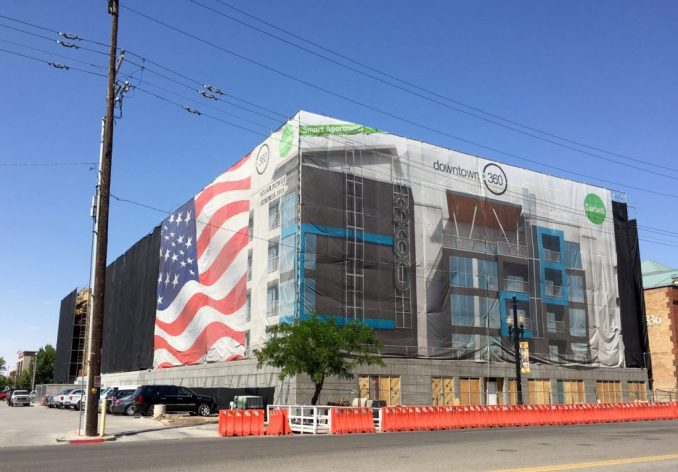 The southeast corner of the 360 Apartments as seen from Pioneer Park. Photo by Isaac Riddle.