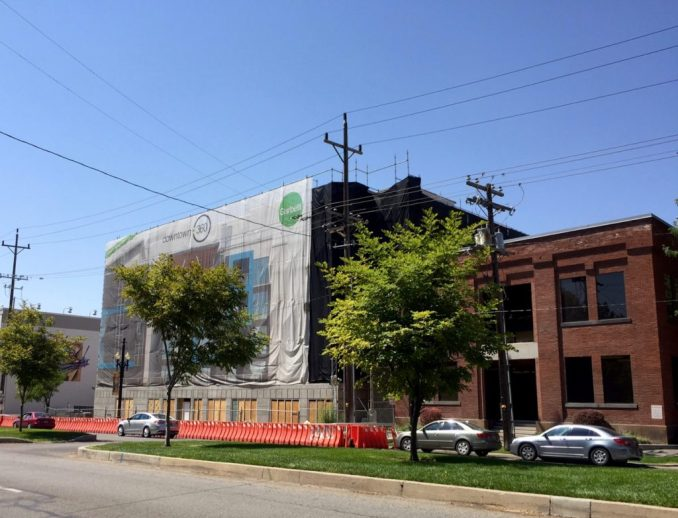 The southwest corner of the 360 Apartments as seen from Pioneer Park on 400 West. Photo by Isaac Riddle.