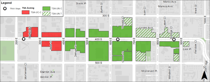 Zoning map of the TSA district on 400 South. Image courtesy Salt Lake City.