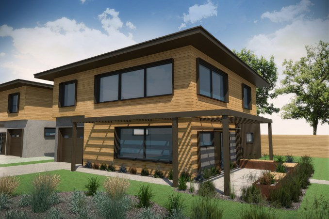 Rendering of easternmost home in the Living Zenith community. Image courtesy Redfish Builders.