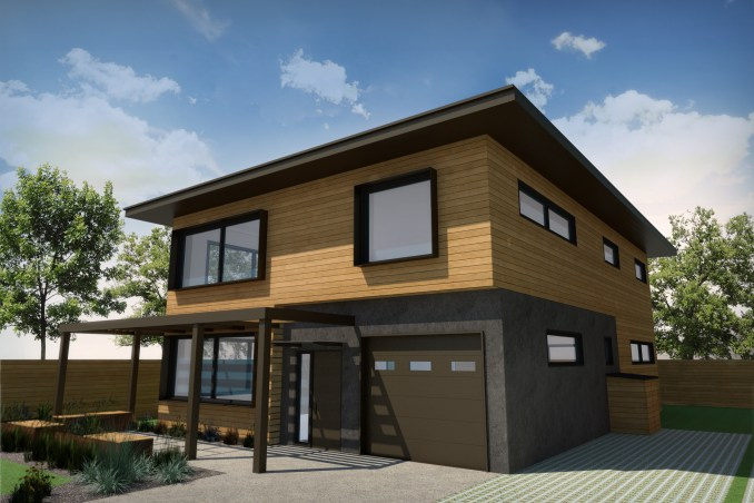 Rendering of House type A in the Living Zenith community. Image courtesy Redfish Builders.