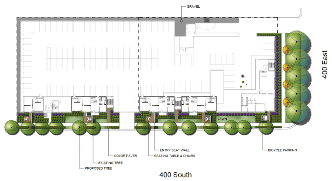 Landscaping plans for the 4th and 4th Apartments. Image courtesy Salt Lake City.