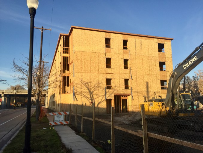 The south face of the 1015 South Apartments as seen from the 200 West. Photo by Isaac Riddle.