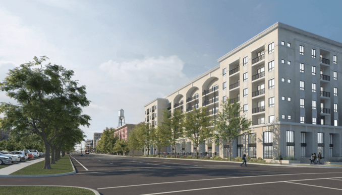 Rendering of Hardware Village East building as pictured looking south on 400 West. Image courtesy Salt Development.