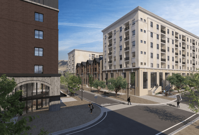 Both the East and West buildings will featured brownstones that will front a street that bisects both buildings. Image courtesy Salt Development.