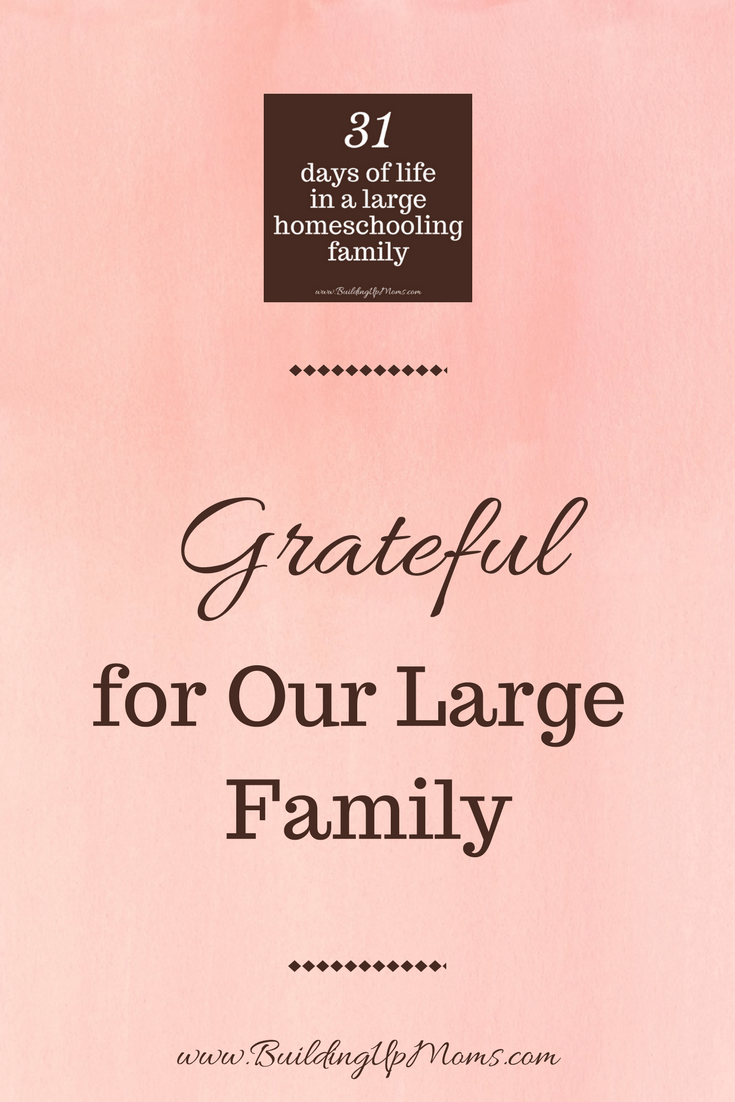 Grateful for our Large Homeschooling Family.