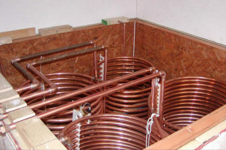 solar heat storage tank and copper coil heat exchangers