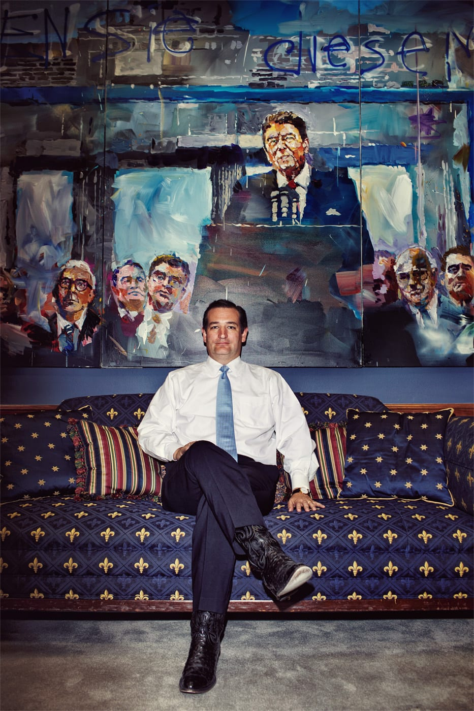 "Texas Senator Ted Cruz poses for a portrait in his office, which notably features a very large painting by the artist Steve Penley of President Ronald Reagan delivering his ""tear down this wall"" Brandenburg Gate speech."