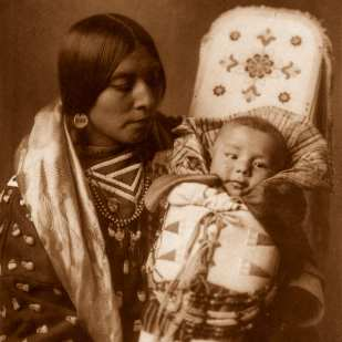 Edward S. Curtis, Mother and Child, 1908, pigment print, 12 x 9""