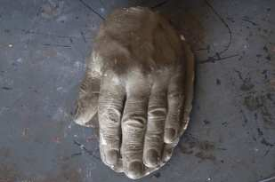 Life cast in plaster, done by Leon Koury of his hand (Bill Beckwith's private collection)
