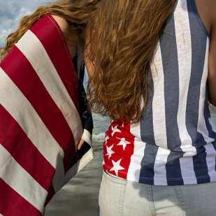 2 Girls, 1 Flag, 4 July ©George Elsasser