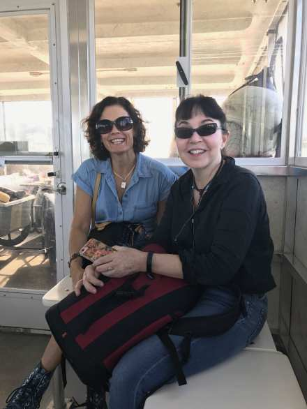 JoLynn Still (l) and our co-instructor Jessica Hines aboard the ferry Day One. ©NancyMcCrary