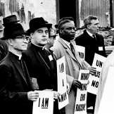 Bishop Joseph A. Durick, third from left, is one of 25,000 getting ready for a silent march of mourning for the civil rights leader Martin Luther King Jr. in the streets of Memphis April 8, 1968. Bishop Durick, apostolic administrator for the diocese of Nashville, was one of the speakers at the three-hour rally after the march. Bill Preston for The Tennessean