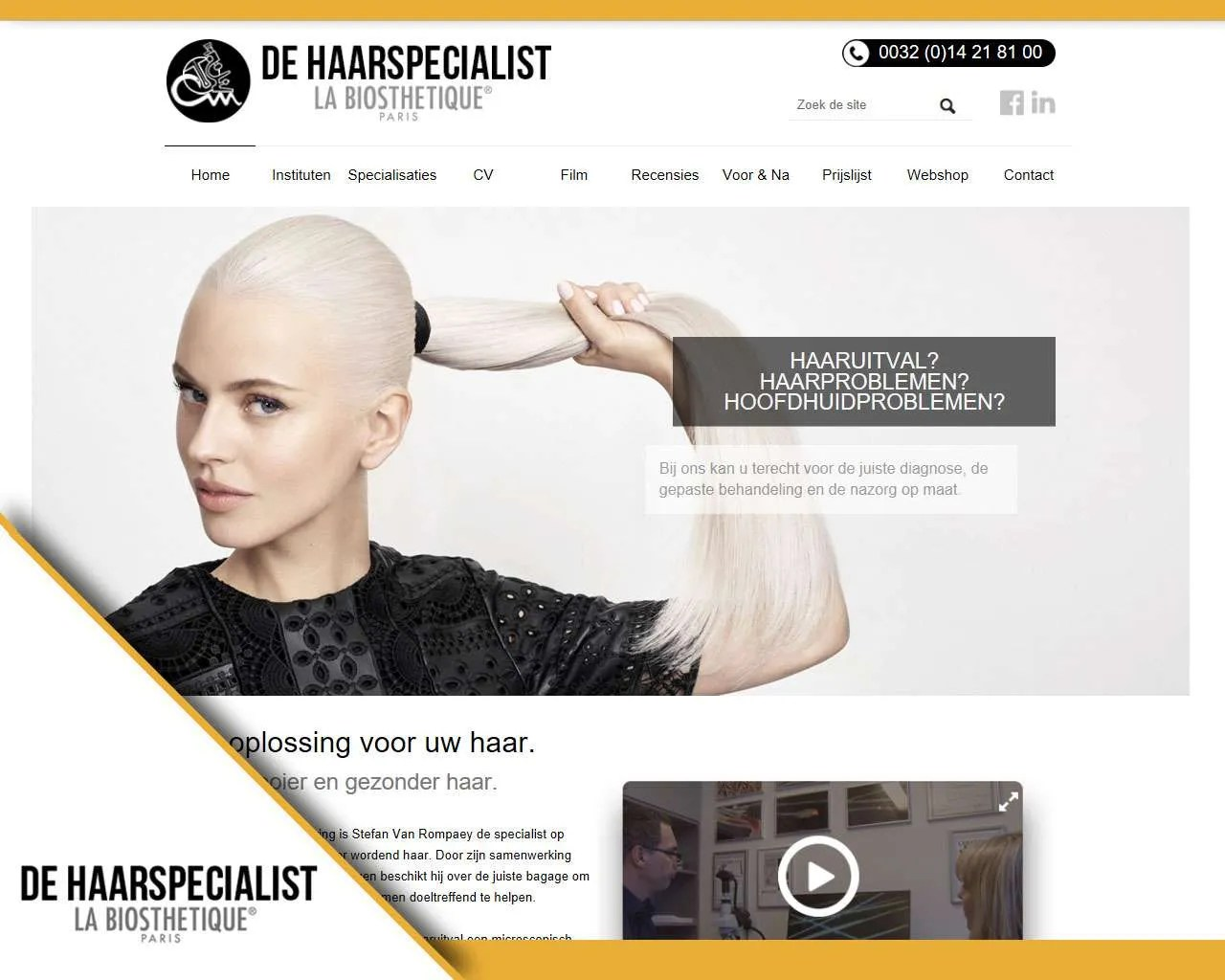 Website De Haarspecialist door Buitengewoon Communicatie Averbode | Webdesign