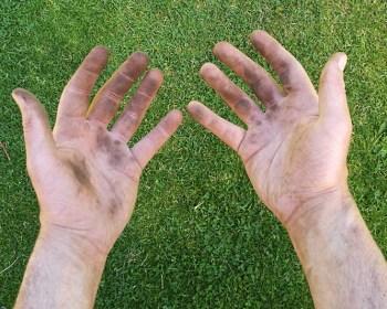 Na een dag werken in de tuin heb ik bruine vingers.