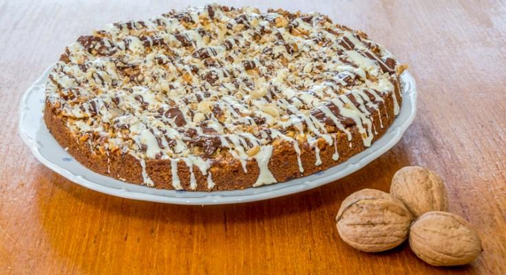 Walnotenkoek met chocolade