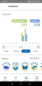 De app geeft je een overzicht van de waarnemingen die je hebt ingevoerd.