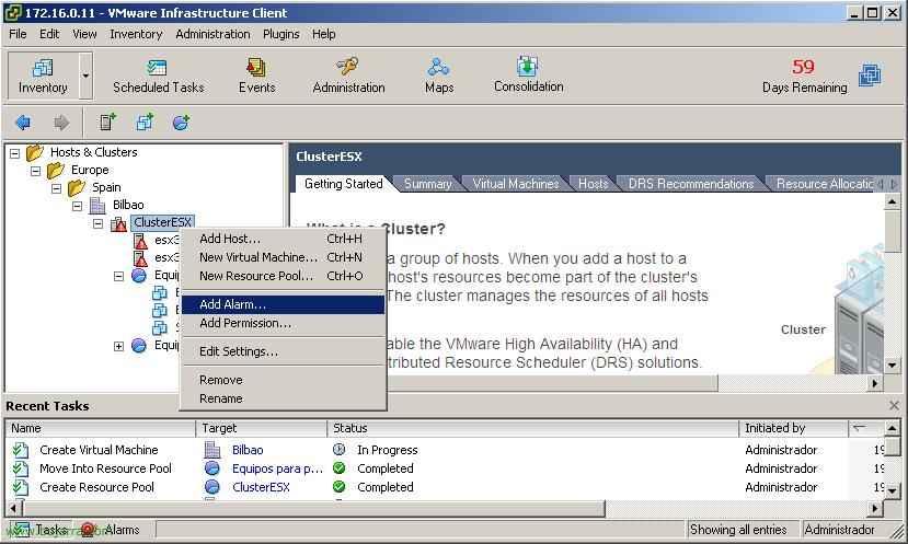 Configurando alarmas en VMware Virtual Center