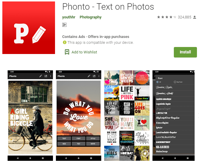 Phonto – Text on Photos