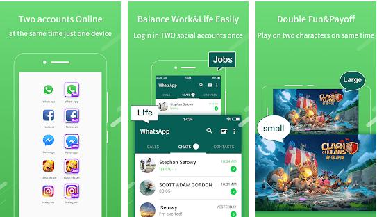 2Face-2 Akun untuk aplikasi whatsapp & sosial