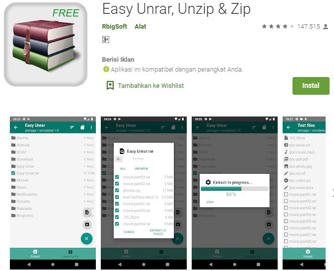 Aplikasi Easy Unrar, Unzip & Zip