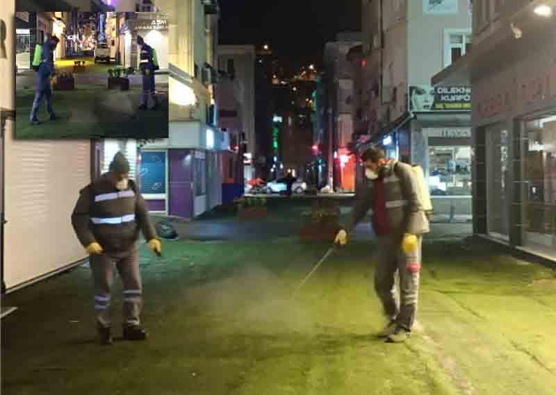 Ordu Caddelerinde Dezenfekte Çalışması Yapıldı